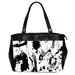 Pattern Color Painting Dab Black Office Handbags (2 Sides)