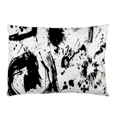 Pattern Color Painting Dab Black Pillow Case (Two Sides)