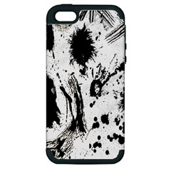Pattern Color Painting Dab Black Apple Iphone 5 Hardshell Case (pc+silicone)