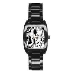 Pattern Color Painting Dab Black Stainless Steel Barrel Watch