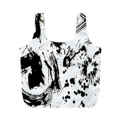 Pattern Color Painting Dab Black Full Print Recycle Bags (M)