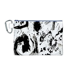 Pattern Color Painting Dab Black Canvas Cosmetic Bag (m)