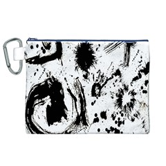 Pattern Color Painting Dab Black Canvas Cosmetic Bag (xl)