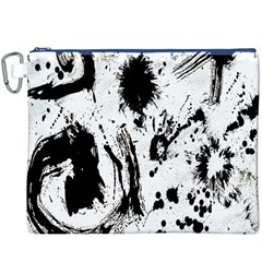 Pattern Color Painting Dab Black Canvas Cosmetic Bag (XXXL)