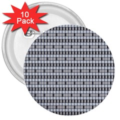 Pattern Grid Squares Texture 3  Buttons (10 Pack)