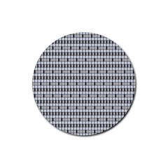 Pattern Grid Squares Texture Rubber Coaster (round)