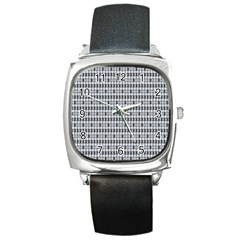 Pattern Grid Squares Texture Square Metal Watch