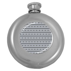 Pattern Grid Squares Texture Round Hip Flask (5 oz)