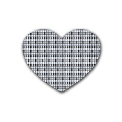 Pattern Grid Squares Texture Heart Coaster (4 pack)