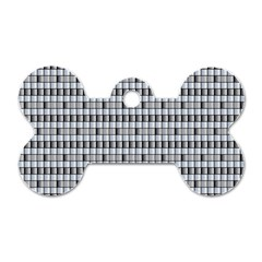 Pattern Grid Squares Texture Dog Tag Bone (Two Sides)