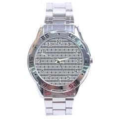 Pattern Grid Squares Texture Stainless Steel Analogue Watch