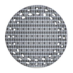 Pattern Grid Squares Texture Ornament (Round Filigree)