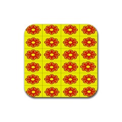 Pattern Design Graphics Colorful Rubber Square Coaster (4 pack)