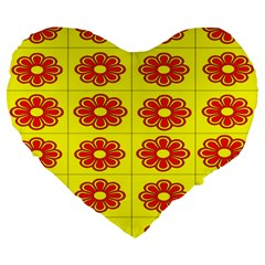 Pattern Design Graphics Colorful Large 19  Premium Flano Heart Shape Cushions