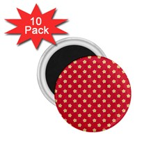 Pattern Felt Background Paper Red 1.75  Magnets (10 pack)