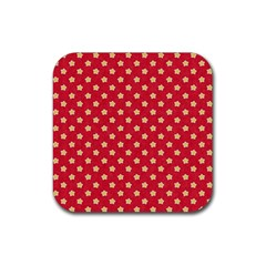 Pattern Felt Background Paper Red Rubber Coaster (Square)