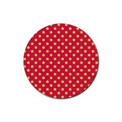 Pattern Felt Background Paper Red Rubber Round Coaster (4 pack)