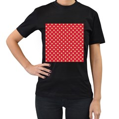 Pattern Felt Background Paper Red Women s T-Shirt (Black) (Two Sided)