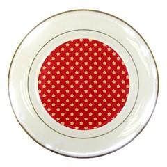 Pattern Felt Background Paper Red Porcelain Plates