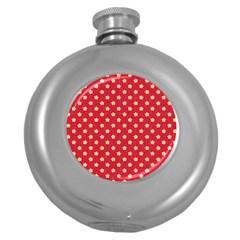 Pattern Felt Background Paper Red Round Hip Flask (5 Oz)