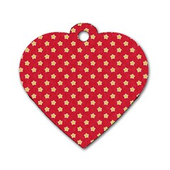Pattern Felt Background Paper Red Dog Tag Heart (two Sides)