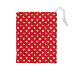 Pattern Felt Background Paper Red Drawstring Pouches (large)