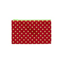 Pattern Felt Background Paper Red Cosmetic Bag (XS)