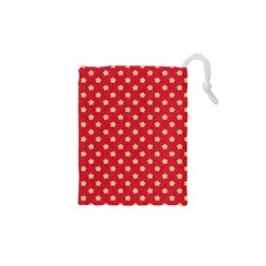 Pattern Felt Background Paper Red Drawstring Pouches (XS)