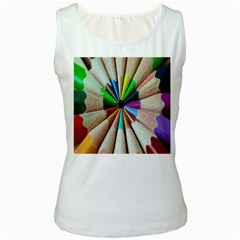Pen Crayon Color Sharp Red Yellow Women s White Tank Top