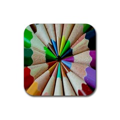 Pen Crayon Color Sharp Red Yellow Rubber Coaster (Square)