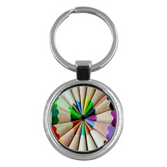 Pen Crayon Color Sharp Red Yellow Key Chains (Round)
