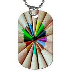 Pen Crayon Color Sharp Red Yellow Dog Tag (One Side)