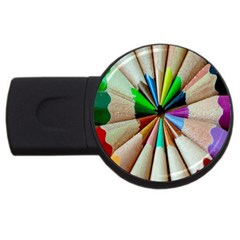 Pen Crayon Color Sharp Red Yellow USB Flash Drive Round (2 GB)