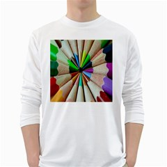 Pen Crayon Color Sharp Red Yellow White Long Sleeve T-Shirts