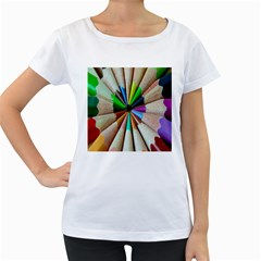Pen Crayon Color Sharp Red Yellow Women s Loose-Fit T-Shirt (White)
