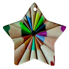 Pen Crayon Color Sharp Red Yellow Star Ornament (two Sides)