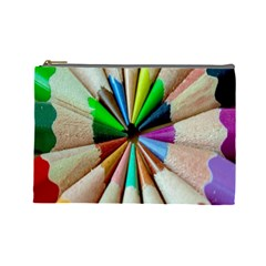 Pen Crayon Color Sharp Red Yellow Cosmetic Bag (Large)