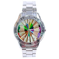 Pen Crayon Color Sharp Red Yellow Stainless Steel Analogue Watch