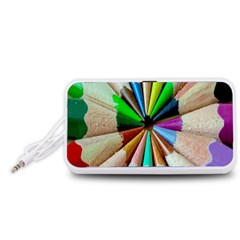 Pen Crayon Color Sharp Red Yellow Portable Speaker (White)