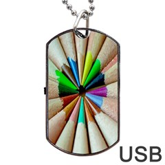 Pen Crayon Color Sharp Red Yellow Dog Tag USB Flash (One Side)