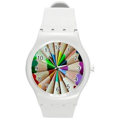 Pen Crayon Color Sharp Red Yellow Round Plastic Sport Watch (m)