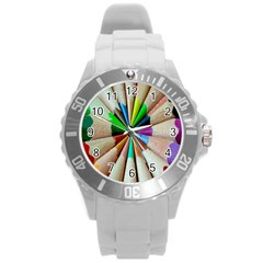Pen Crayon Color Sharp Red Yellow Round Plastic Sport Watch (l)