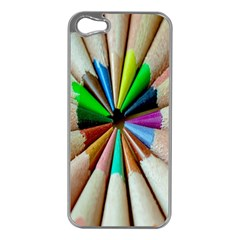 Pen Crayon Color Sharp Red Yellow Apple Iphone 5 Case (silver)