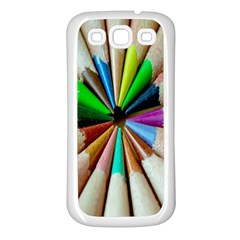 Pen Crayon Color Sharp Red Yellow Samsung Galaxy S3 Back Case (White)