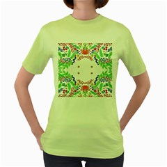 Holiday Festive Background With Space For Writing Women s Green T-Shirt