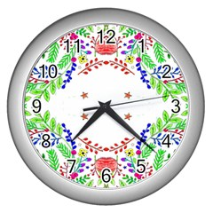 Holiday Festive Background With Space For Writing Wall Clocks (Silver)