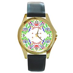 Holiday Festive Background With Space For Writing Round Gold Metal Watch