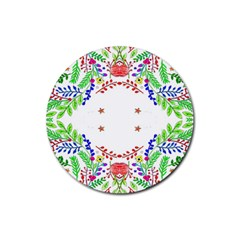 Holiday Festive Background With Space For Writing Rubber Round Coaster (4 pack)