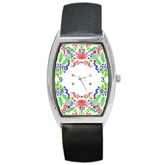Holiday Festive Background With Space For Writing Barrel Style Metal Watch