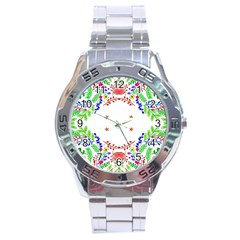 Holiday Festive Background With Space For Writing Stainless Steel Analogue Watch